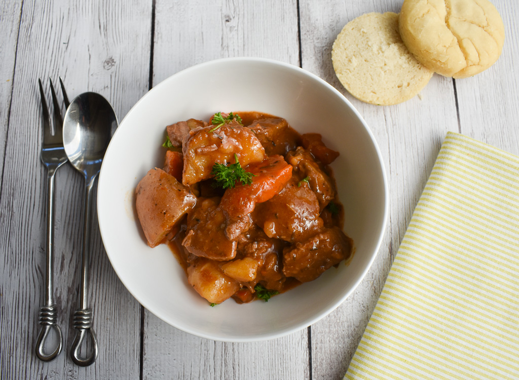 low fodmap beef stew in bowl