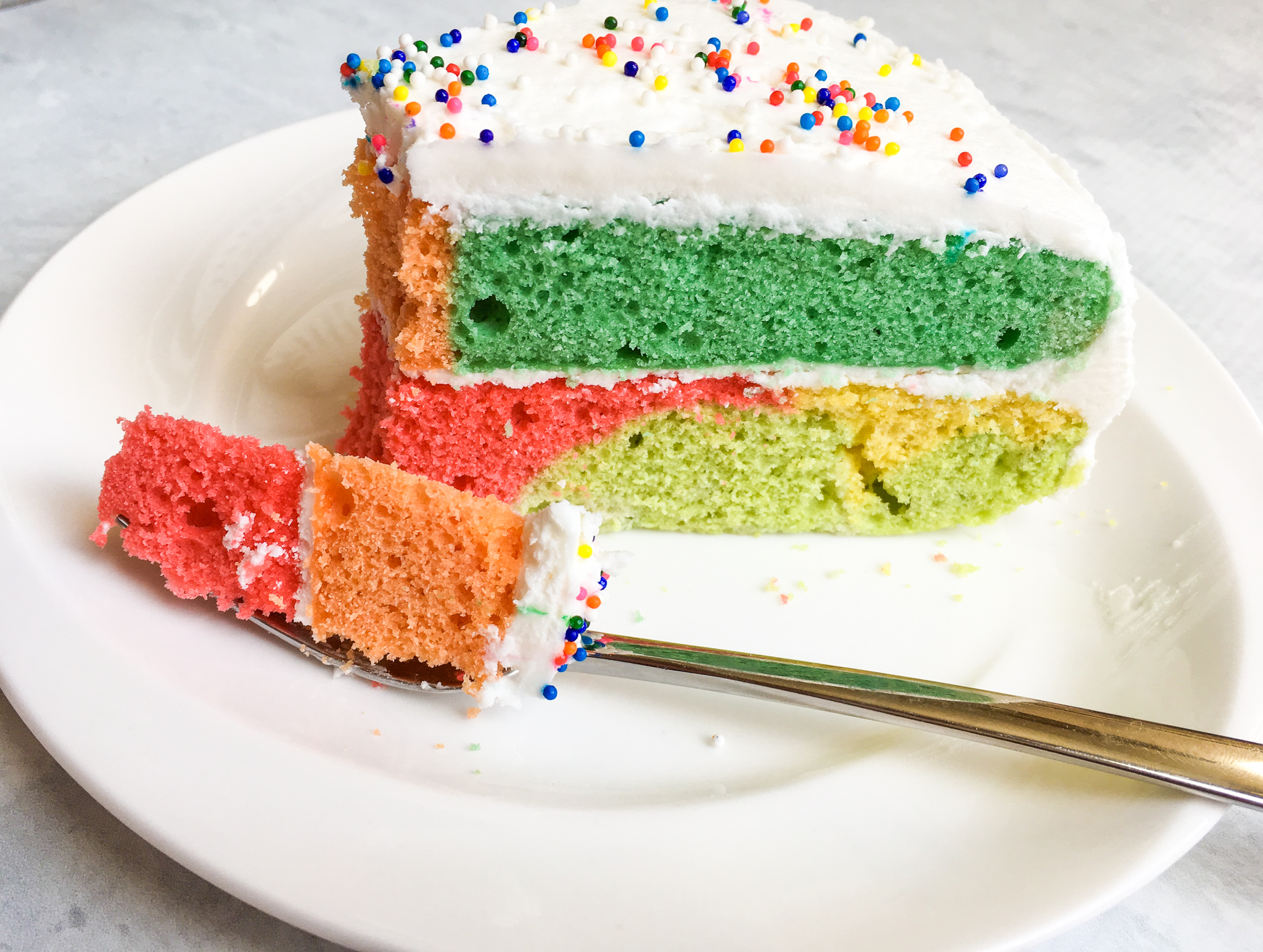 Low Fat Celebration Cake Recipes: Dazzling Low-FODMAP Rainbow Celebration Cake / White