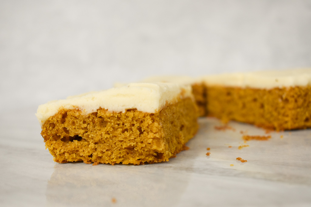 low fodmap pumpkin bar on marble