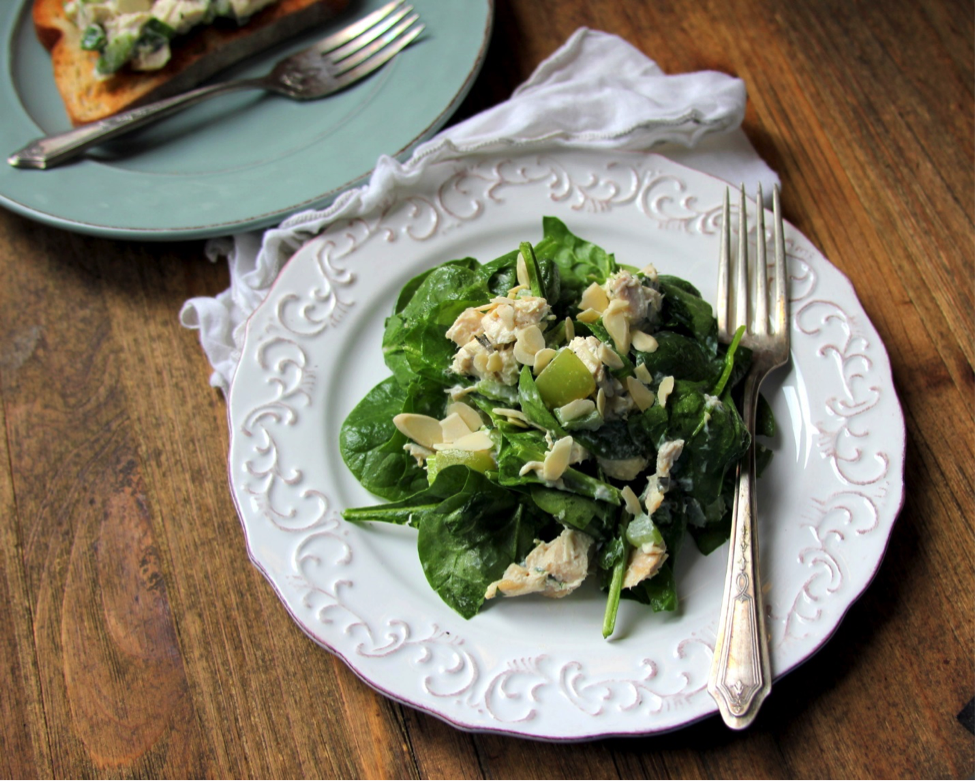 light and satisfying chicken salad on greens